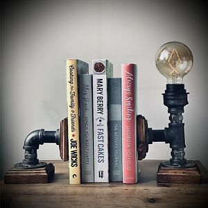 Industrial Steam Punk Bookend With Lamp Table Desk Office Bedroom Book Stop E27