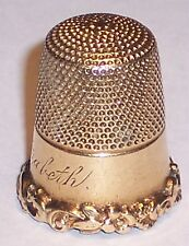 Antique 14K Solid Gold Thimble Carter Gough Co Heavy Scrolls Name Elizabeth