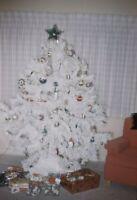 Retro White Christmas Tree Xmas 1962 Kodachrome 60s Vintage 35mm Slide A181