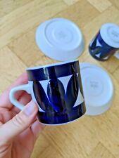 Vintage Pair ARABIA Sotka Coffee Cups & Saucers Raija Uosikkinen Hand-painted