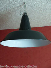 Lampe gamelle d'atelier émaillée Mazda émail noir / VINTAGE /ATELIER/INDUSTRIEL