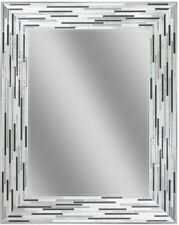 Deco Wall Mirror 29.5 In. L X 23.5 In. W Reeded Charcoal Tiles Bathroom