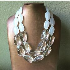 Crystal clear Statement Chunky Necklace Bubble Silver Jewelry Big Bead White NEW