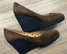"Paul Smith Wedges Shoes UK4 EU37 ""PAUL X"" Womens Brown Suede Leather Wedges"