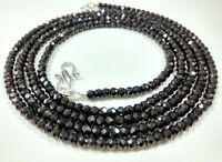 Necklace Black Spinel Rondelle Faceted Gemstone Beads 4 mm 12 To 42 Inch Strand
