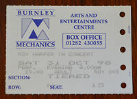 Roy Harper Burnley Mechanics 31st  Oct 1998 Ticket Stub