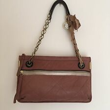 AUTH LANVIN PARIS QUILTED AMALIA LAMBSKIN TAUPE EXPANDABLE SHOULDER BAG NWOT