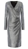 Biba Chainmail Party Dress Womens Ladies Gunmetal Silver LS Wrap UK Size 8