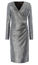 Biba Chainmail Party Dress Womens Ladies Gunmetal Silver Wrap UK Size 8 *REF140