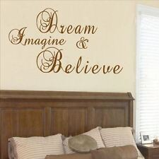 Huhome PVC Wall Stickers Wallpaper Dream come true English poetry carved bedroom