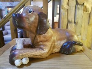 Dog With Bone/Wood Carving/Hand Crafted/Rustic/Solid Wood