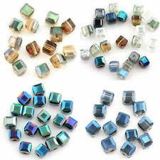 Lots 50/100Pcs Multi-color Czech Crystal Cube Faceted Loose Spacer Beads 5mm