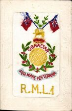World War 1 Regimental Silk. Royal Marine Light Infantry. Gibraltar.
