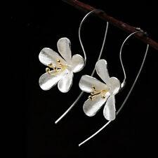Elegant Flower Long Tassel Earrings For Women Thai Process Lady silver jewelry