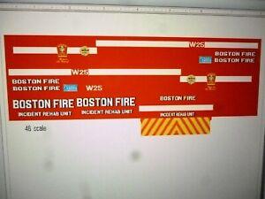 Boston Mass   Fire Department Ambulance Decals 1:48 Custom
