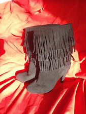 Marina Galanti Suede Boots with Fringes / US 8 / E U R 39 Black