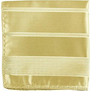 New Men's Polyester Woven pocket square hankie only beige pin stripes formal