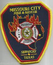 """Missouri City Fire & Rescue Services, TX  (4"""" x 5"""" size)  fire patch"""