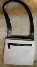 LES COPAINS Leather HANDBAG White Purse Sling Cross Body Shoulder Bag Black Trim