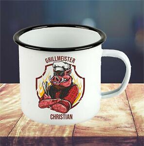 Grillmeister Emaille Tasse mit Wunschnamen personalisiert Geschenk Grill grillen