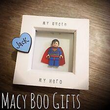 Personalised Gift Present Lego Frame Superhero Dad Daddy Grandad Superman