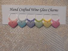 """""""Sugar hearts,Valentines Day'' SET OF 6  HAND CRAFTED wine glass drink markers"""