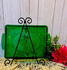 "Vintage Emerald Green Depression Glass 11 x 8"" Vanity Tray Plate Dish Fan Design"