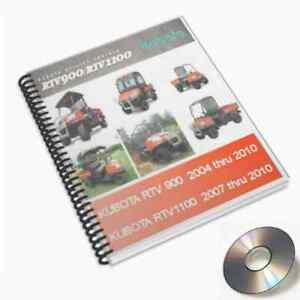 Kubota RTV 1100-900 Factory Digital Service Manual Repair 2004 to 2010 PDF CD !!