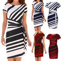 Womens Office Business Work Formal Party Cocktail Slim Tunic Stripe Pencil Dress