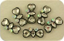 2 Hole Slider Beads Heart & Marquis Facets w/AB Swarovski Crystal Elements QTY 6