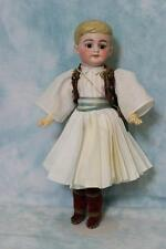 "12"" Antique Molded Hair German Bisque Boy doll Orig Greek Guard costume"
