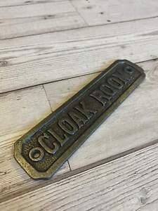 CLOAK ROOM Cast Iron Vintage Retro Antique Sign Plaque