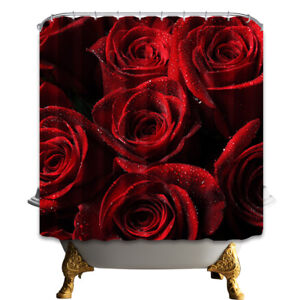 Beautiful Red Rose Polyester Fabric Bathroom Home Decor Shower Curtain Liner Set