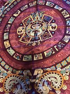 Pineda Covalin  silk scarf NWT Aztec Calendar