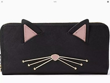 NWT Kate Spade  Cat's Meow Black Leather Lindsey Zip Around Wallet Clutch