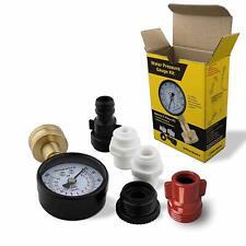 Water Pressure Meter Gauge Adapters Kit Patio RV Garden Hose Pipe Tank Universal
