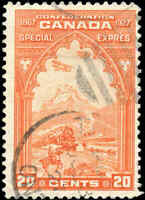 1927 Used Canada 20c Scott #E3 Special Delivery Stamp