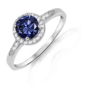 Blue Tanzanite Round Sterling Silver Halo Engagement Ring