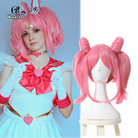 Sailor Chibimoon Chibi Usa Pink Cosplay Wig Ponytails Party Wigs