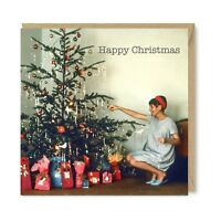 Unique Vintage Retro Christmas Card 1950s 1960s Nostalgia Xmas Tree Baubles