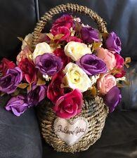 Silk( Purple,Deep Pink, Peach and Cream)Tea Rose Floral Arrangement-Valentines