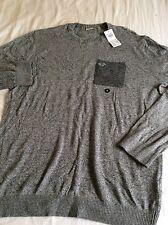 NEW Genuine Hollister Men's Light Grey Jumper with Dark Grey Pocket Size XL