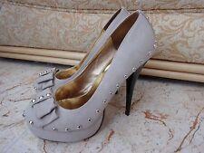 New JOJO CAT Ladies Nude Studded High Heel Platform Court Shoes size 38 EU- 4 UK