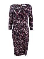 Calvin Klein Women's Twist-Detail Sheath Dress (6, Aubergine Multi)