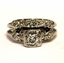 14k white gold .35ct round diamond engagement ring wedding band 4.5g vintage