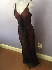 CACHE Deep Red Ruched Goth Mermaid Formal Gown Dress 2 GORGEOUS