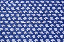 Indian Fabric Indigo blue Print 100% Cotton Fabric Hand Block Elephant fabric