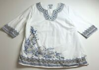 Catherines Women's Long Sleeve Tunic Top 0X 14 16W White Blue Boho Summer Spring