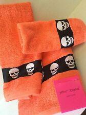2 Piece Set: BETSEY JOHNSON Skelator Skulls Tangerine Face & Hand TOWELS NWT