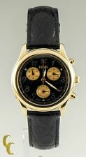 Fendi 18K Yellow Gold Chronograph Watch w/ Leather Band